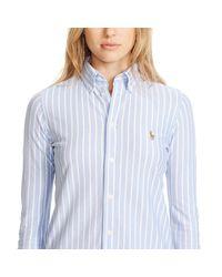 Polo Ralph Lauren - Blue Striped Knit Oxford Shirt - Lyst
