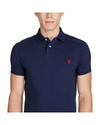 Polo Ralph Lauren - Blue Slim-fit Mesh Polo Shirt for Men - Lyst