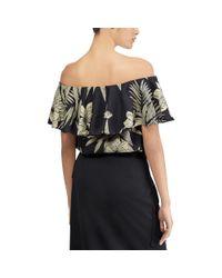 Polo Ralph Lauren - Black Floral Off-the-shoulder Top - Lyst