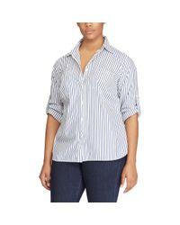 Ralph Lauren - Blue Striped Cotton Shirt - Lyst