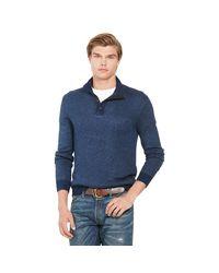 Polo Ralph Lauren   Blue Suede-trim Tussah Silk Sweater for Men   Lyst
