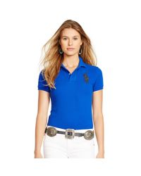 Polo Ralph Lauren | Blue Skinny-fit Big Pony Polo Shirt | Lyst