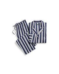 Pink Pony | Blue Striped Capri Pajama Set | Lyst