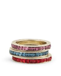 Ralph Lauren - Multicolor Embellished Stackable Rings - Lyst