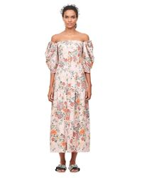 Rebecca Taylor - Pink Marlena Off The Shoulder Floral Midi Dress - Lyst