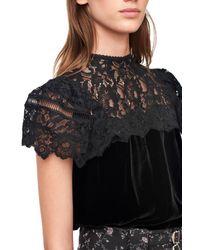 Rebecca Taylor - Black Velvet & Lace Top - Lyst