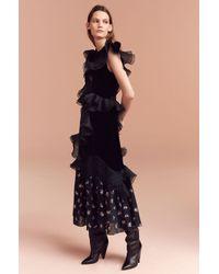 Rebecca Taylor - Black Floral Jacquard & Velvet Dress - Lyst