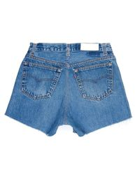 Re/done | Blue High Rise Short | Lyst