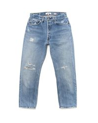 Re/done - Blue High Rise Cropped - Lyst