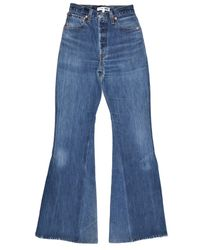 Re/done - Blue High Rise Slit Jean - Lyst