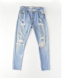 Re/done | Blue Straight Skinny | Lyst