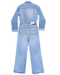 Re/done - Blue Flared Denim Jumpsuit - Lyst