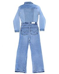 Re/done - Blue Flared Denim Jumpsuit - Lyst
