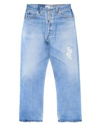 Re/done - Blue High Rise Crop - Lyst