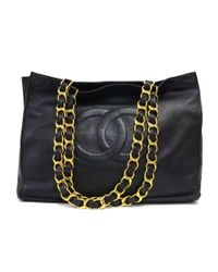Chanel - Vintage Jumbo Xl Black Leather Shoulder Shopping Tote Bag - Lyst