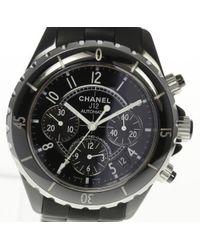 Chanel - J12 H0939 Chronograph Black Ceramic Rubber Belt Automatic Mens Pre-owned for Men - Lyst