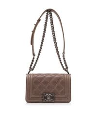 a942d64f7b7c0b Lyst - Chanel Pre-owned Small Boy Flap Bag in Brown