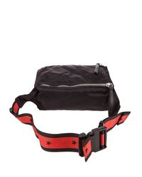 Givenchy - Black Pandora Bum Pouch In Polyamide With Red Shoulder Strap And Zip Pockets for Men - Lyst
