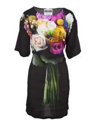 Moschino - Black Dress With Multicolored Floral Print With Boat Neck And Adjustable Ribbons On The Back - Lyst