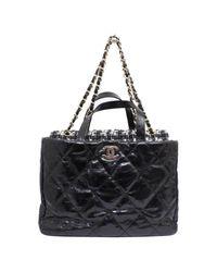 b7d94579ea06 Lyst - Chanel Portobello Chain Shoulder Bag 2way Leather Tweed in Black