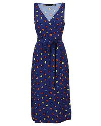 Moschino - Blue Patterned Viscose Dress - Lyst