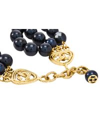 Chanel - Blue Pre-owned Pearl Necklace With Heart Cc Charm - Lyst