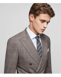 Reiss - Brown Belvedere - Slim-fit Double-breasted Suit for Men - Lyst
