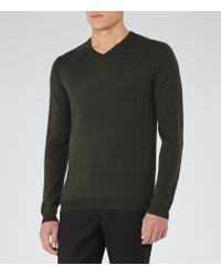 Reiss | Green Emporer Merino V-neck Jumper for Men | Lyst