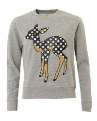 Essentiel Antwerp - Gray Offie2 Sweatshirt, Dotted Dear Vapor Grey Jumper - Lyst