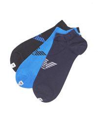 Emporio Armani - Plain Blue Black Navy Logo Trainer Socks for Men - Lyst