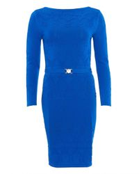 Versace - Dress, Long Sleeve Cobalt Blue Star Knitted Dress - Lyst