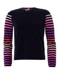Cocoa Cashmere - Blue Striped Arm Jumper, Navy Cashmere Sweater - Lyst