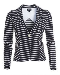 Armani Jeans - Striped Blazer, Stretch Jersey White Navy Blue Jacket - Lyst