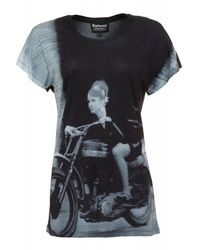 Barbour - International Black Photographic Print Oversized 'sprint Tee' T-shirt - Lyst