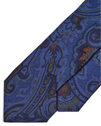 Etro - All Over Paisley Print Blue Tie for Men - Lyst