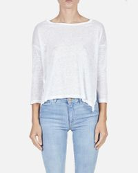 Majestic Filatures - Long Sleeve Crew W/ Side Slits In White - Lyst