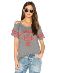 Chaser - Gray Striped Sleeve Cold Shoulder Tee - Lyst