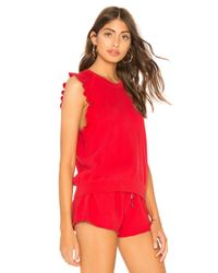 David Lerner - Red Ruffle Sleeveless Pullover - Lyst