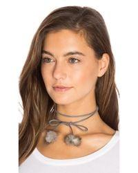 8 Other Reasons - Gray Rabbit Fur Pom Pom Wrap Necklace - Lyst