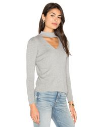 MILLY - Gray Cut Away Collar Sweater - Lyst