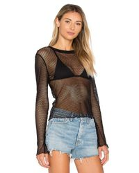 Project Social T - Black Kenza Long Sleeve Mesh Tee - Lyst