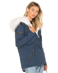 Sam. - Blue Mini Luxe Parka With Fox Fur And Asiatic Raccoon Fur - Lyst