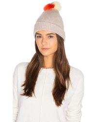 Autumn Cashmere | Multicolor Fox Fur Pom Pom Hat | Lyst