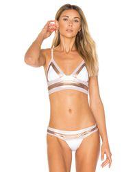 Beach Bunny | White Tequila Sunrise Long Line Bralette Bikini Top | Lyst