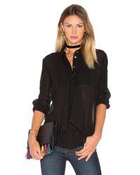 FRAME | Multicolor Le Chiffon Silk-Blend Tie Blouse | Lyst