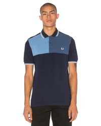 Fred Perry   Black Blue Colour Block Chest Polo for Men   Lyst