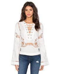Free People | White Bittersweet Lace Up Top | Lyst