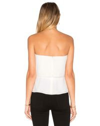 Halston - White Strapless Flounce Top - Lyst