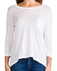 James Perse - White Cotton Cashmere Pocket Tee - Lyst