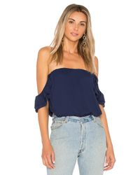 Krisa | Blue Ruffle Off Shoulder Top | Lyst